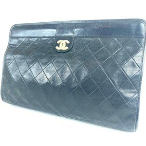 """Chanel CC Logo Quilted Black Lambskin Frame"
